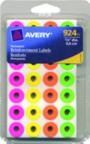 Avery® Neon Self-Adhesive Reinforcement Labels - 924 pieces