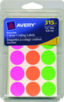 Avery® Assorted Removable Colour Coding Labels - 315 pieces