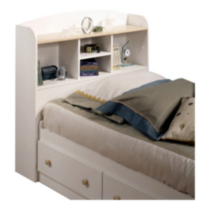 South Shore Summertime Collection Twin Size Natural Maple & Pure White Bookcase Headboard