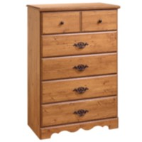 Commode 5 tiroirs South Shore, collection Prairie, fini pin country