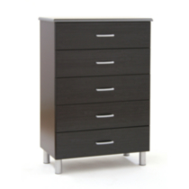 Commode 5 tiroirs South Shore, collection Cosmos - noir onyx et charbon