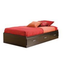 South Shore Cosmos Collection Twin Size Black Onyx and Charcoal Mates Bed