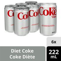 Coke Diète Mini-Canette de 222 mL, paquet de 6