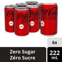 Coca-Cola zéro sucre 222mL Mini-Canettes, paquet de 6