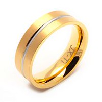 TITANIUM  GOLD PLATED RING WITH CENTER GROOVE 15
