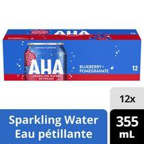 Boisson à l'eau pétillante AHA Bleuet + Grenade, canettes de 355 mL, paquet de 12