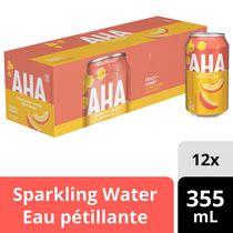 Boisson à l'eau pétillante AHA Pêche + Miel, canettes de 355 mL, paquet de 12
