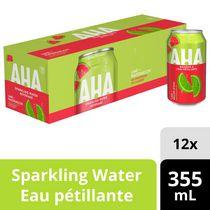Boisson à l'eau pétillante AHA Lime + Melon d'eau, canettes de 355 mL, paquet de 12