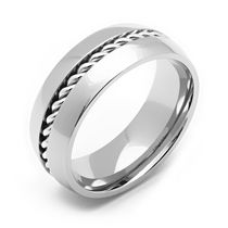 Rex Rings Titanium Ring with Rope Center 8