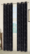 Faux Silk Embroidered Circle Window Panel with Liner Black