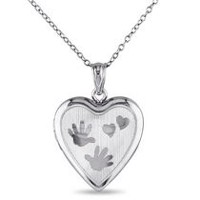 "Sterling Silver ""Hearts and Hands"" Locket Pendant, 18"""