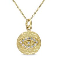 0.15 Carat T.G.W. Cubic Zirconia Yellow Rhodium-Plated Sterling Silver Eye Pendant, 18""