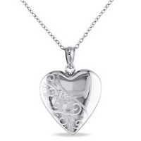 Sterling Silver Engraved Heart Locket Pendant, 18""