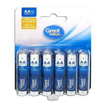 AA Great Value Alkaline Batteries - 12 Pack