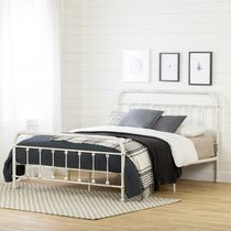 South Shore Prairie Metal Platform Bed Queen White Shabby Chic