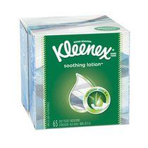 Kleenex Soothing Lotion Facial Tissues with Aloe & Vitamin E, 1 Cube Box, 65 Tissues per Box