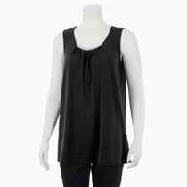 George Women's Dressy Tank with Metallic Accent Black L/G