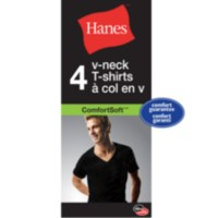 Hanes Mens' ComfortSoft® V-Neck T-Shirt, Pack of 4 M