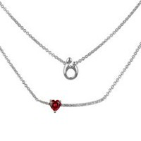 5144f7da3b03 Sterling Silver Created Heart Ruby and created White Topaz Double Necklace