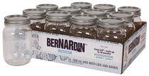 Bernardin Decorative Regular Mouth 500ML Mason Jar with Lids and Bands, 12 Count