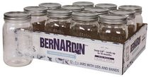 Bernardin Pot de maçon décoratif à bouche large, 1 ml, avec couvercles et bandes, 12 unités