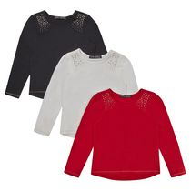 George British Design Girls' 3Pk Long Sleeve Stud Shoulder 6X