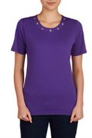 Alia Women's Wide Crew Neck Shirt with Grommets Grape M
