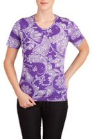 Alia Women's Graphic Print Short Sleeve T-Shirt Purple Paisley 2X