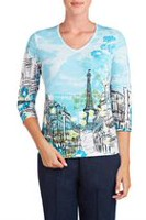 Alia Women's 3/4 Sleeve Printed V-Neck Top XL