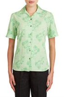 Alia Women's Short Sleeve Printed Camp Shirt Green Gingham 16P
