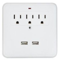 Globe Electric 3-Outlet 2-USB Port White Wall Tap Outlet
