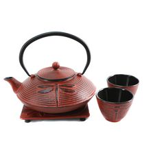 Cuisiland Dragonfly 800 mL (27 oz.) Cast Iron Teapot Set with 2 Cups Red
