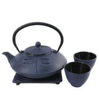 Cuisiland Dragonfly 800 mL (27 oz.) Cast Iron Teapot Set with 2 Cups Blue