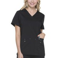 Scrubstar Women's  Premium Collection Stretch Rayon V-Neck Scrub Top Black 3XL