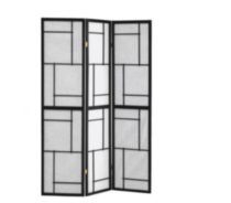 Charlie Black Wood Framed 3-Panel Folding Screen