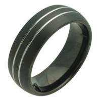 BLACK TUNGSTEN RING WITH LINES 11.5