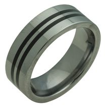 Rex Rings Men's Tungsten Long lasting Durable Metal Ring with Two Inlaid Stripes of Black Resin 7.5