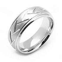 Rex Rings Men's Tungsten Long lasting Durable Metal Ring with Etched Pattern 11.5