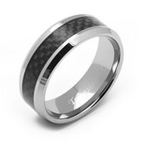Rex Rings Men's Tungsten Long lasting Durable Metal Ring with Black Carbon Fiber Inlay 9.5