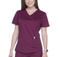Scrubstar Women's Core Essentials Mock Wrap Scrub Top Wine M