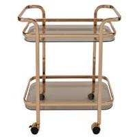2 Tier Gold Metal/Glass Bar Cart