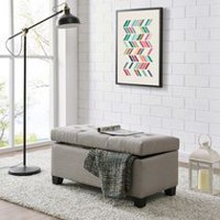 Linen look Fabric Storage Ottoman