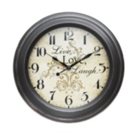 Sterling & Noble Live Love Laugh Plastic Wall Clock