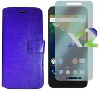 Exian Google Nexus 6P Screen Protectors X 2 and PU Leather Wallet Purple