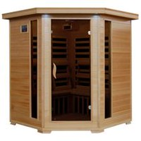 Radiant Saunas Hemlock Corner Infrared Sauna with 10 Carbon Heaters