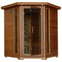 Radiant Saunas 4-Person Cedar Corner Infrared Sauna with 10 Carbon Heaters