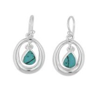 Sterling silver drop earring with turquoise stone.
