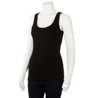 George Women's Racer Back Ribbed Tank Top Black L/G