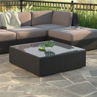 CorLiving PPS-601-T Textured Black Weave Seattle Patio Coffee Table