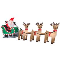 Airblown Self-Inflatable Garden Decor Santa in Sleigh with Three Reindeer